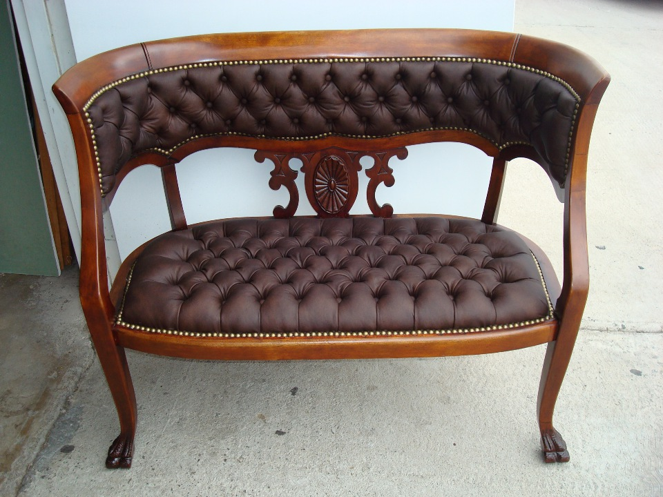 Reupholstered diamon leather bench repairs Orange County after