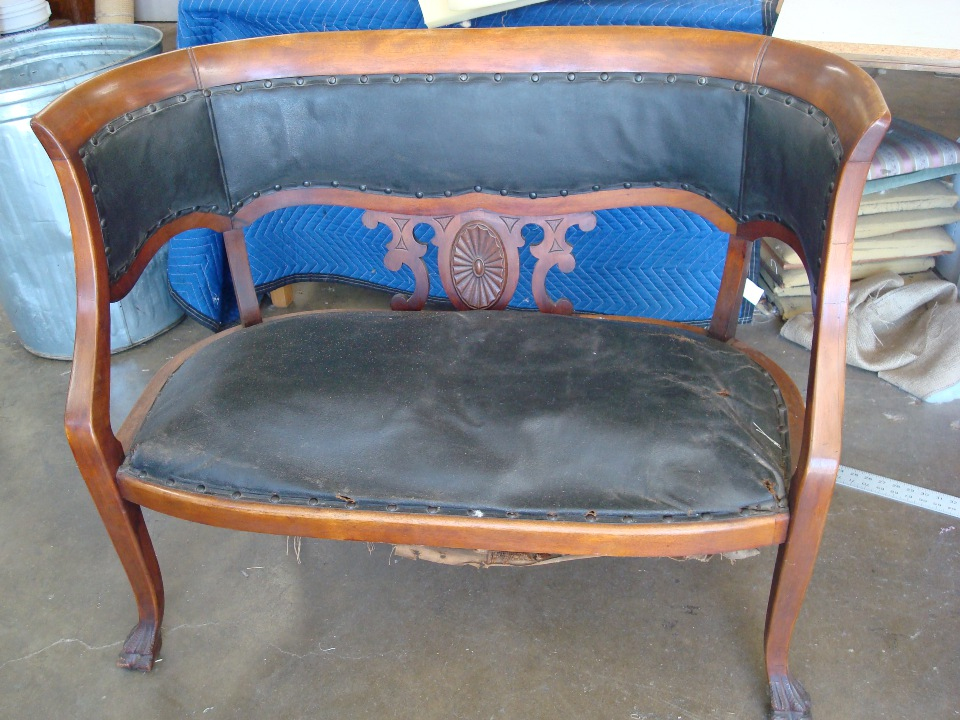 Reupholstered diamon leather bench repairs Orange County before