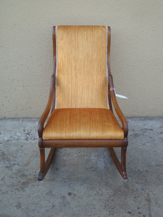Rocking chair refinished upholstered repaired before