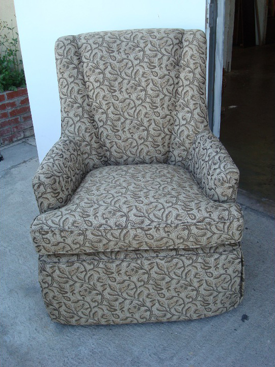 Wing chair fabric upholstery after