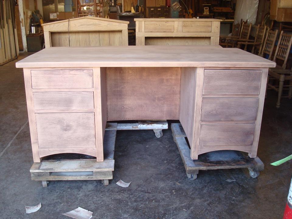 mahagony desk furniture refinishing OC before