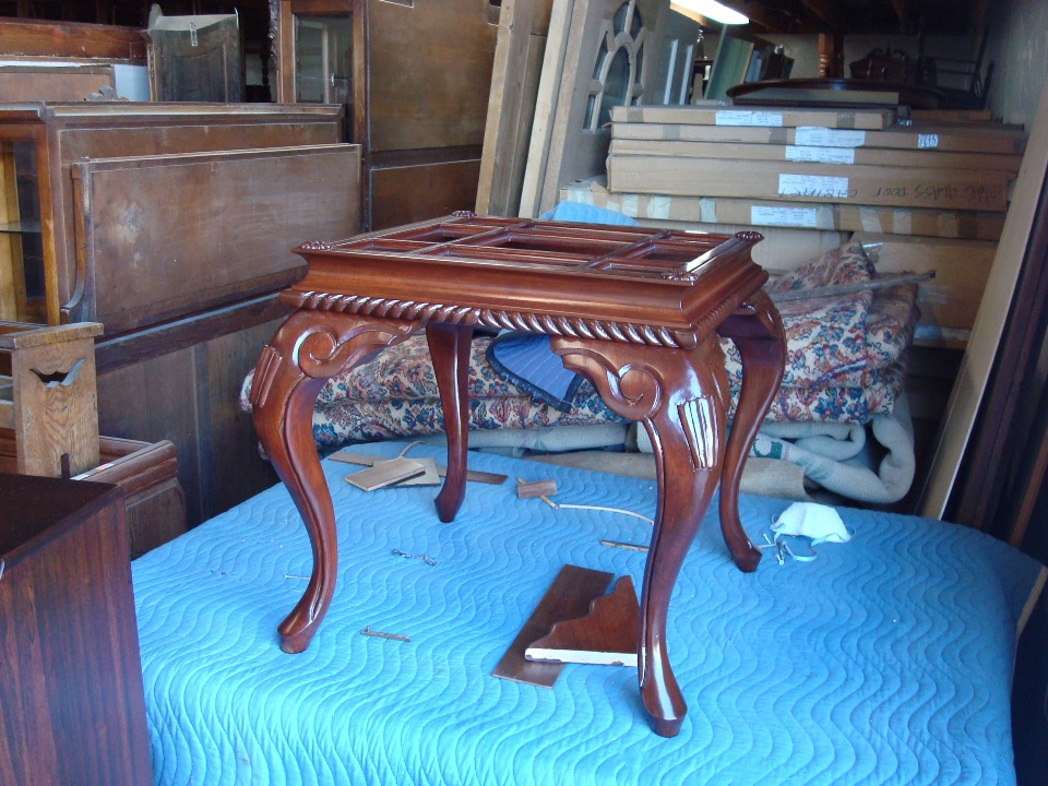refinish custom coffee table after