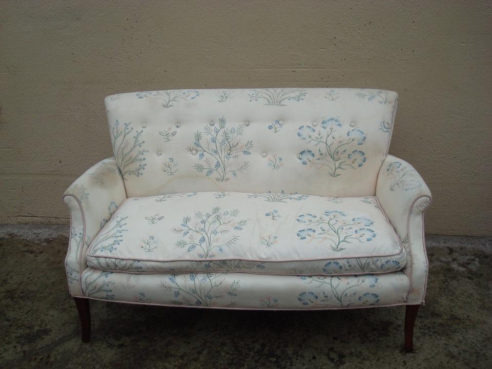 reupholster set tea sofa before